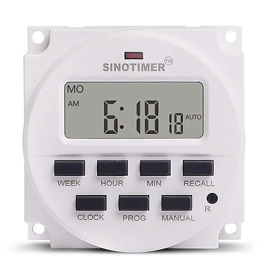... 12V Semanal 7 días Programable Digital Interruptor de Tiempo Relay Timer Control Cuenta atrás para el Dispositivo eléctrico - Blanco: Amazon.es: Relojes