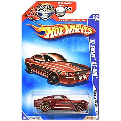 Hot Wheels 2009 Muscle Mania 1967 67 Shelby Ford Mustang GT-500 GT500 Maroon Red RARE CARD BF5 (Gt 5 Wheel)