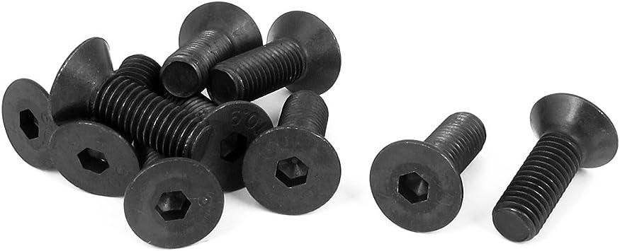 uxcell M10 x 30mm Metric Hex Socket Countersunk Head Screw Bolts Black 10PCS a15100700ux0310