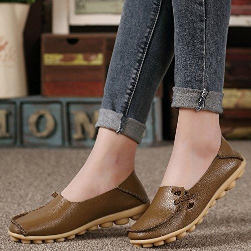 Lucksender Damen Weichleder Comfort Driving Loafers Schuhe Khaki