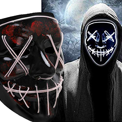 Halloween Scary Mask Cosplay Led Costume Mask EL Wire Light up Purge Mask for Halloween Festival Party (LED-White)