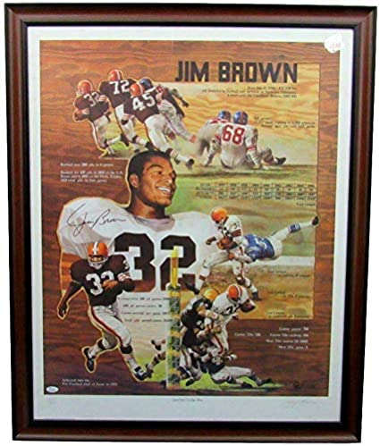 Jim Brown Nfl >> Jim Brown Cleveland Browns Signed Framed 26x34 Lithograph