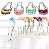 ASIV Pack of 12 Stainless Steel Shower Curtain Hooks Glide Rings, Colorful