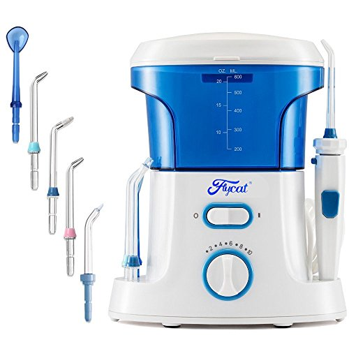 Flycat Professional Countertop Oral Irrigator, Quiet Design Leak-Proof Water Dental Flosser for Teeth Care 600 ml Capacity with 10 Adjustable Water Pressure Levels and 7 Nozzles for Whole Family Use