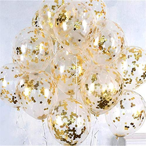 10Pcs 12Inch Clear Rose Gold Round Star Confetti Latex Balloons Wedding Birthday Christmas Sownflake Confetti Helium Balls Decor Gold Star Confetti 10Pcs Confetti Latex]()