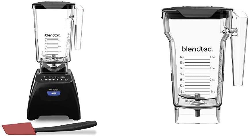 Blendtec Classic 575 Blender - WildSide+ Jar (90 oz) and Spoonula Spatula BUNDLE - 4 Pre-programmed Cycles - 5-Speeds - Black & FourSide Jar (75 oz), Four Sided, Professional-Grade Blender Jar