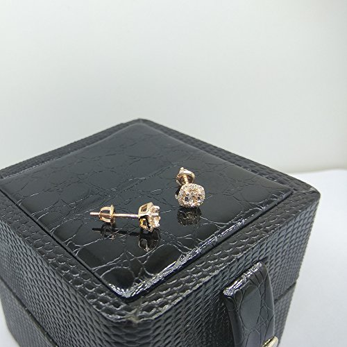 10K Rose Gold Round Cut Morganite & White Diamond Ladies Halo Style Stud Earrings by DazzlingRock Collection (Image #7)