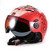 Maxmer Ski Helmet with Goggles Integrally Molded Windproof Lightweight Snowboards Racing Adult Winter Sports Helmet for Men Women, Red L 58 - 61cm