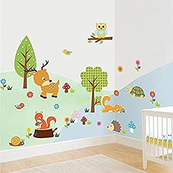 Amaonm® Cute Cartoon Natural Wildlife Wall Decals Forest Animals Wall  Stickers Murals Owls, Deer Part 78