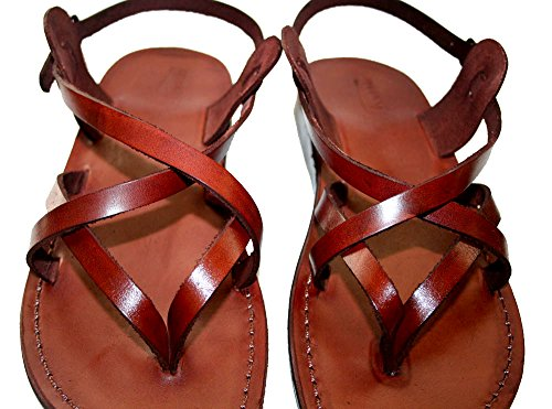 Land Leather Collection (Brown Mix Unisex Leather Sandals / Genuine Handmade Leather Holy Land Biblical Jesus Sandals (EURO # 41))