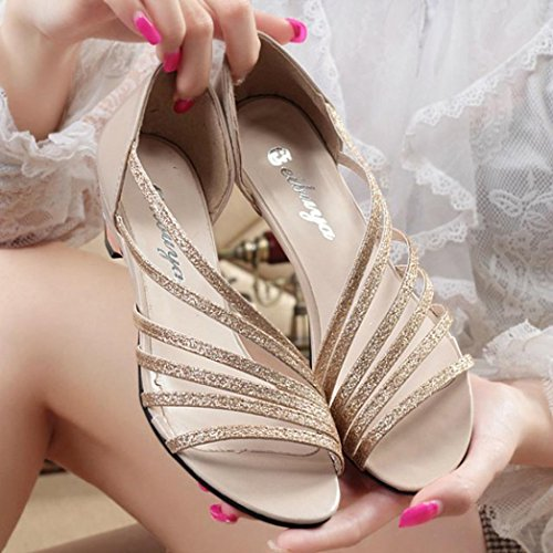 Elevin (tm) Donne Estate Moda Peep-toe Ritagli Piatto Scarpe Da Ballo Latino Sandali Da Spiaggia Scarpe Oro
