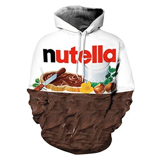 3D Peanut Chocolate Digital Print Graphic Print Fun Sweatshirt Hoodie Nutella S