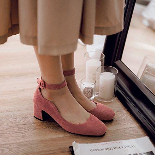 bocca piccola e fresca raso scarpe Fascetta di femmina molla profonda Peachred a ruvida singolo selvatica scarpe poco wgq1pPg