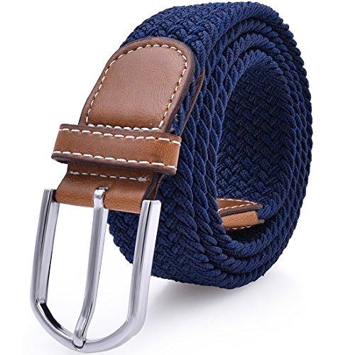 Mens Stretch Belt Elastic Fabric Braided Woven Web Canvas Women Leather Unisex Cotton Multicolored Belt Large Dark Blue