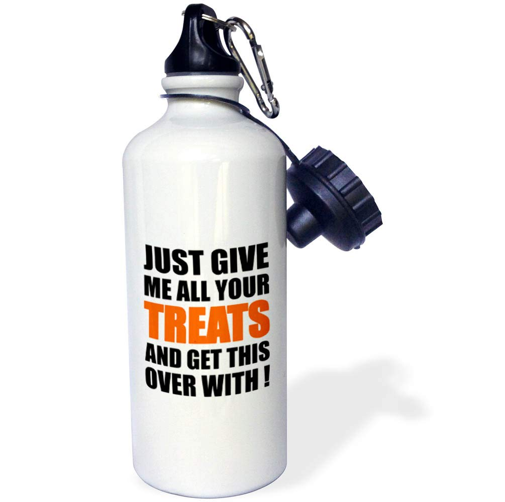 3dRose Carsten Reisinger - Illustrations - Just give me All Your Treats and get This Over with Halloween Fun - 21 oz Sports Water Bottle (wb_294714_1)