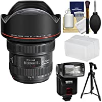 Canon EF 11-24mm f/4.0L USM Zoom Lens with Flash + Diffuser + Pistol Grip Tripod + Kit