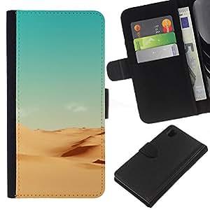 Stuss Case / Funda Carcasa PU de Cuero - Minimalista Paisaje del desierto - Sony Xperia Z1 L39