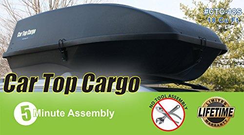 - Car Top Cargo Rooftop Cargo (18 Cubic Feet Storage Box 57 39 X 19-Inch No Tools Needed 110 Lb Capacity)