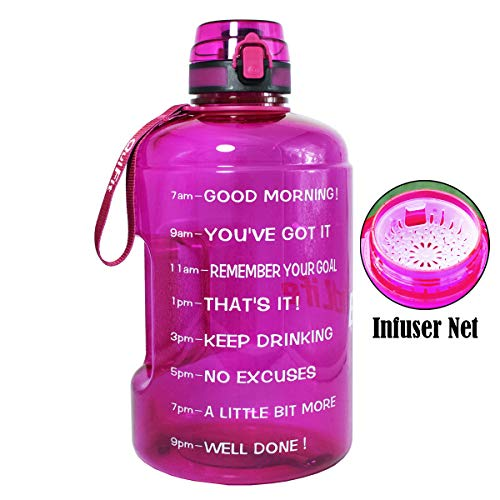 BuildLife 73OZ Motivational Water Bottle Wide Mouth with Time Marker/Flip Top Leakproof Lid/One Click Open/Large BPA Free Capacity for Fitness Goals and Outdoor(Purple, 73OZ)