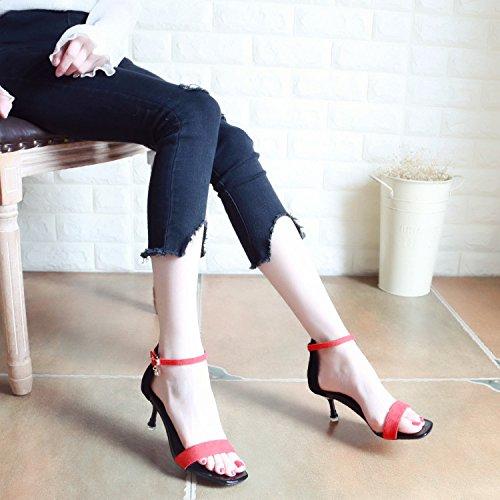 Diamond YMFIE Moda Sandalias Hebilla b Tacones Toe Lady'S y Verano Europeo Nuevo Estilo w4r1x0q4Y