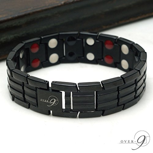 OVER-9 Germanium Bracelet for men Elegant Therapy Titanium Magnetic Sport Pain Relief for Arthritis and Carpal Tunnel (Double Row - Made From Titanium Products