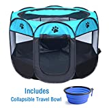ZuHucpts Portable Dog Pet Playpen/Puppy Cat Exercise Pen/Soft Kennel Crate Cage(Indoor/Outdoor use) +