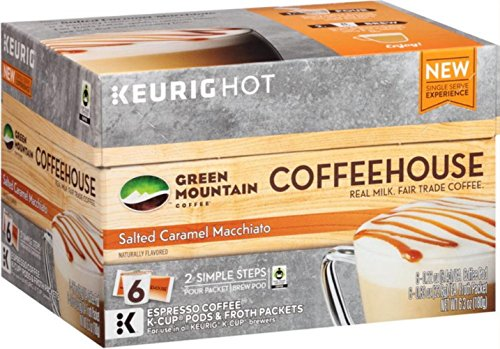 Green Mountain Coffee Salted Caramel Macchiato Keurig K-Cup 12 Count (2 Pack of 6 Brew Pods and Froth Packets) (Keurig Coffee Packets compare prices)
