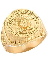 14k Real Yellow Gold Medusa Greek Inspired Designer Mens Ring