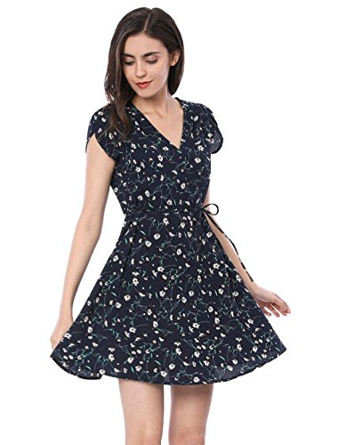 Allegra K Women's Floral Crossover V Neck Petal Sleeves Flowy Dress w Belt XS Blue