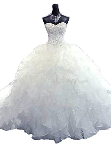 Lovelybride Noble Sweetheart Beaded Organza Wedding Dresses Bridal Gowns
