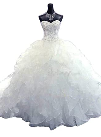 Lovelybride Noble Sweetheart Beaded Organza Wedding Dresses Bridal Gowns 2 Ivory