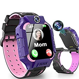 Kids Smart Watch Phone Waterproof GPS Tracker for Girls Boys 4-12 Age, 360° Rotation Kids Phone Watch with Dual Cameras…