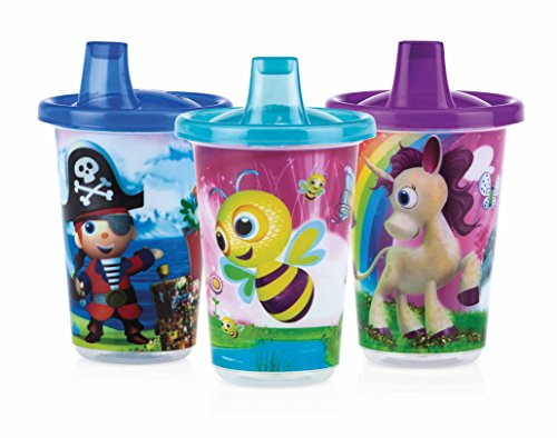 (Nuby 3-Pack Printed Wash or Toss Spout Cups, Styles May)
