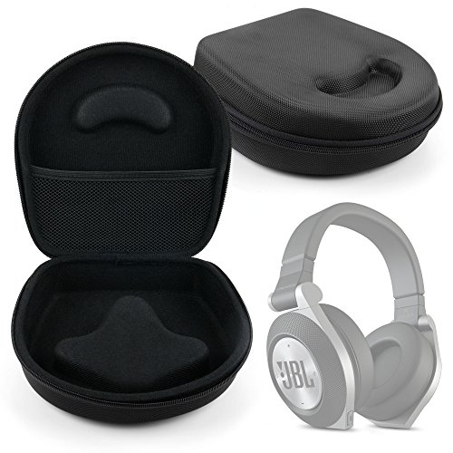 Hard 'Shell' EVA Headphone Pouch Case (Black) - Compatible with JBL E50BT Black Premium Wireless Over-Ear Bluetooth Stereo Headphone - by DURAGADGET