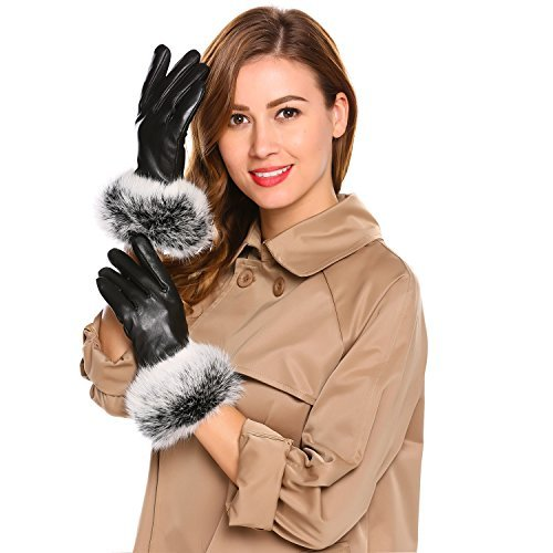 Winter Leather Gloves for Women Warm Touchscreen Texting Driving Fleece Lined Gloves