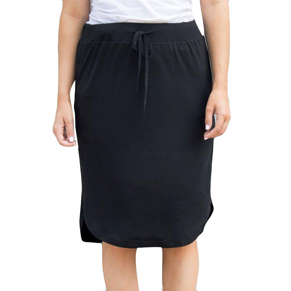 Stripe Short Skirt for Women Knee Length Casual Striped Skirts Summer Elastic by LISTHA