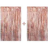 2 Real Rose Gold Foil Fringe Curtain - Beautiful Metallic Tinsel Rose Gold Decorations and Backdrop for Birthday Party, Wedding Decor, Bridal Shower, Baby Shower, Graduation Party Supplies