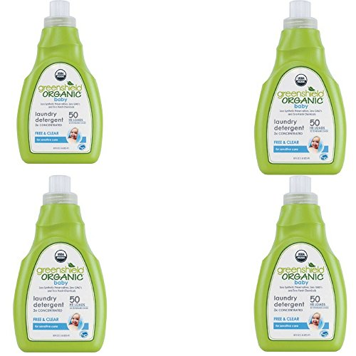Greenshield Organic USDA Certified Organic Baby Laundry Detergent, Free and Clear, 50 Ounce (4 Pack)