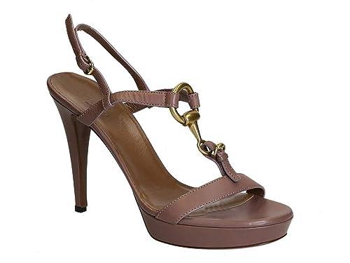 Sandalias de tacón Gucci con Plataforma en Piel de Becerro.  Amazon.es   Zapatos y complementos 3cc3eae778f