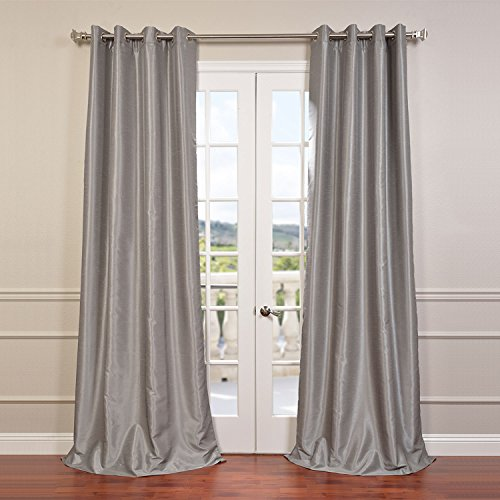 Half Price Drapes PDCH-KBS9-96-GRBO Grommet Blackout Vintage Textured Faux Dupioni Silk Curtain, Silver