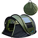 PeakTop Instant Tent 4 Person Automatic Pop up Camping Tent, Waterproof Lightweight Dome Tent Vents, Mesh Doors Windows Camping,Hiking, Backpack Beach Green