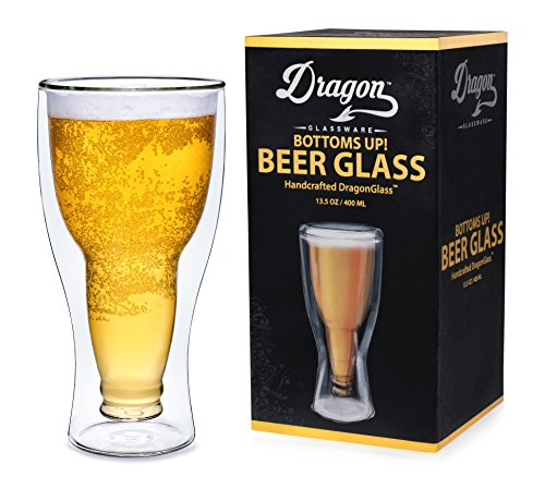 Dragon Glassware Beer Glasses, Premium Designer Mugs with Insulated Double-Walled Design, 13.5-Ounces, Gift Boxed - Set of 4 ()