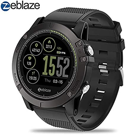 Zeblaze Super Lightweight Vibe 3 HR Smart Watch, Rugged Inside Out HR Monitor 3D UI All-Day Activity Record 1.22 IPS IP67 Waterproof Smart Watch for ...