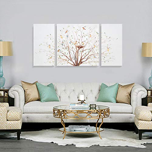 3 Piece Bird Tree Wall Art Nature Painting 'Morning Chorus' Canvas Print on Wrapped Canvas with Hand-painted Embellished Texture Large Colorful Artwork Picture for Living Room Bedroom Office Décor