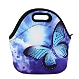 Insulated Neoprene Lunch Bag 3D Printing Waterproof Adults Tote Handbag Picnic Storage Bag Lunchbox Food Container Gourmet Tote for School Work Office (Light Blue(Butterfly))