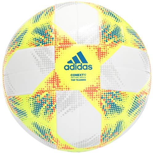adidas Conext19 Top Training Soccer Ball White/Solar Yellow/Solar Red/Football Blue Bottom: Silver Metallic 5