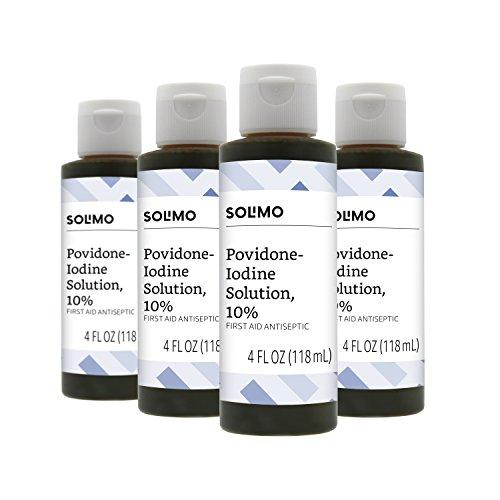 - Amazon Brand - Solimo 10% Povidone Iodine Solution First Aid Antiseptic, 4 Fluid Ounce (Pack of 4)