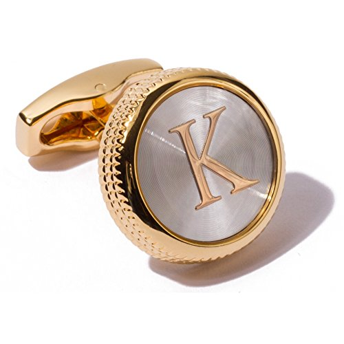 Plated Mens Cufflinks (HJ Men's 2PCS Fashion Dazzle Tuxedo Shirts Platinum Plated Cufflinks Initial Letter 2 Color A-Z (Gold K))