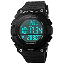 Fanmis Unisex Sports Watches Quartz Clock Military Waterproof Outdoor Pedometer Watch Black