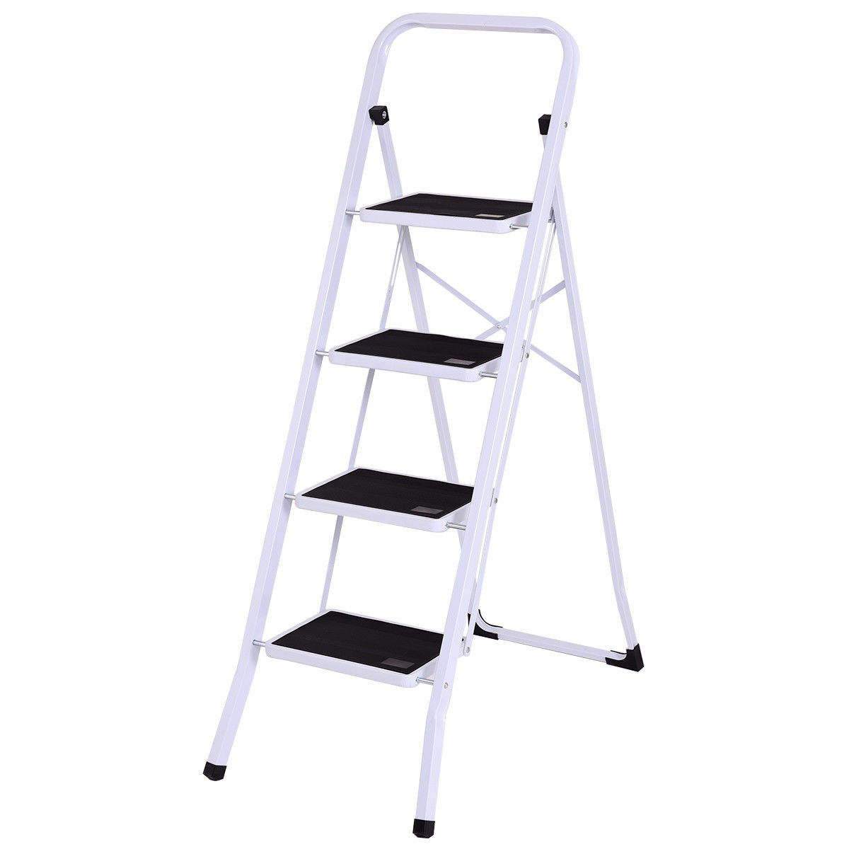 Moon Daughter 4 Step Ladder Folding Steel Step Stool Cross Back Anti-slip Heavy Duty with 330Lbs Capacity